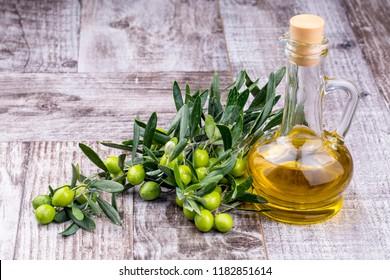 Green olive, olive oil