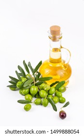 Green olive and olive oil isolated
