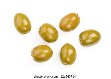 Green olives isolated on a white background. Top view. Flat lay