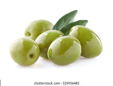 Green olives with leaf