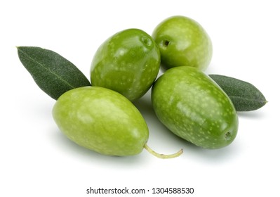Green olives and leaves isolated on white background