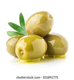 Green olives & oil isolated on a white