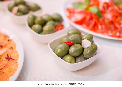 green olives on a festive table
