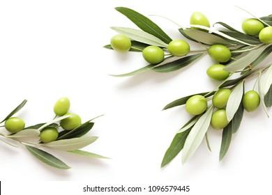 grüne Oliven auf weißem Hintergrund. Kopienraum