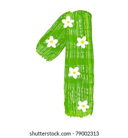 The green one drawn by paints with white blossom