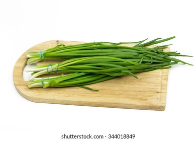 green onions on the white background