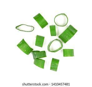 green onions (sometimes called shallots or scallions,, isolated on white.