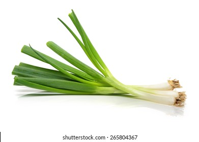 green onions (sometimes called shallots or scallions), isolated on white.