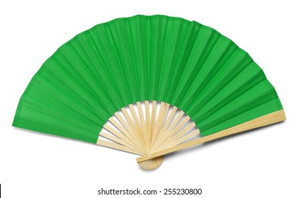 Green Open Hand Fan Isolated on a White Background.