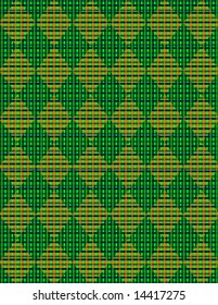 Green and orange argyle woven with blue, kelly green, and forrest green stripes