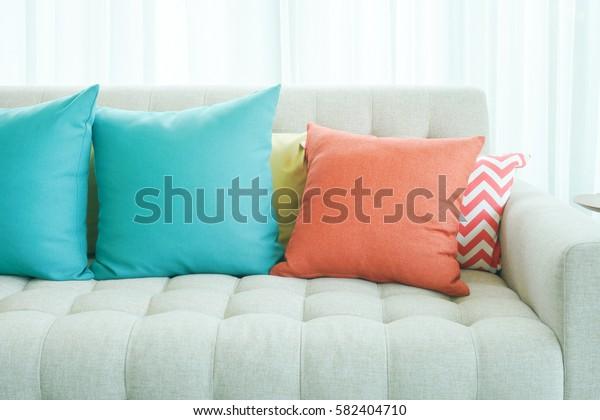Green Orange Pillows On Sofa Modern Stock Photo (Edit Now ...