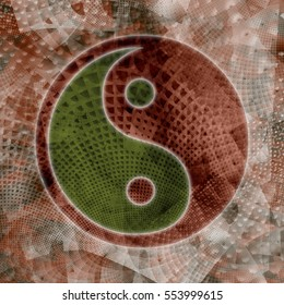 Green and orange yin yang symbol on textured background.