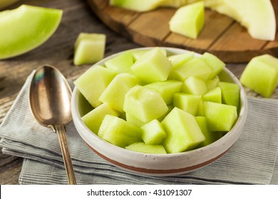 Green Organic Honeydew Melon Cut in a Bowl