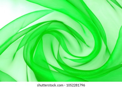 green organza fabric wavy texture