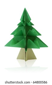 Green origami fir tree or Christmas tree isolated on white