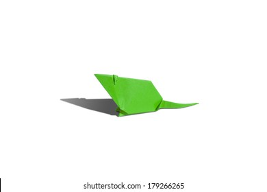 Green origami mouse isolated on white