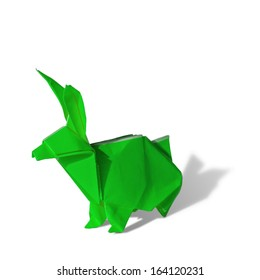 Green Origami rabbit isolated on white