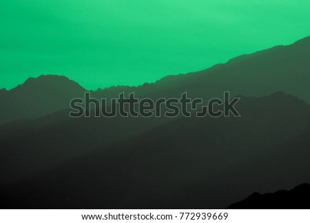 green outline black mountains magnificent natural stock photo edit