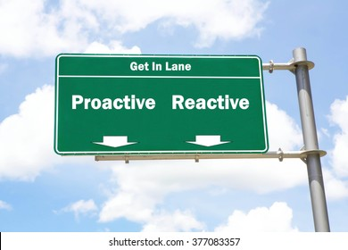 Green overhead road sign with the instruction to get in lane with a Proactive or Reactive concept against a partly cloudy sky background.