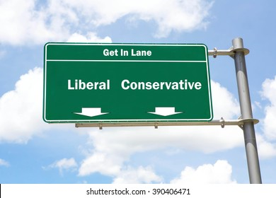 Green overhead road sign with the instruction to get in lane with a Liberal Or Conservative concept against a partly cloudy sky background.