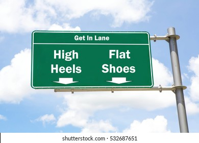 Green overhead road sign with the instruction to get in lane with a High Heels or Flat Shoes concept against a partly cloudy sky background.