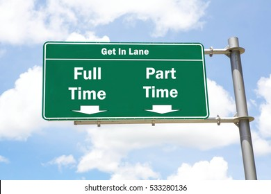 Green overhead road sign with the instruction to get in lane with a Full Time or Part Time concept against a partly cloudy sky background.
