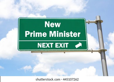 Green overhead road sign with a New Prime Minister Election Next Exit concept against a partly cloudy sky background.