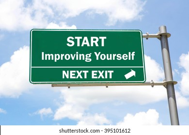 Green overhead road sign with a Start Improving Yourself Next Exit concept against a partly cloudy sky background.