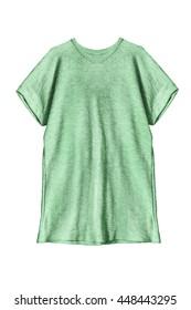 Green oversize tunic on white background