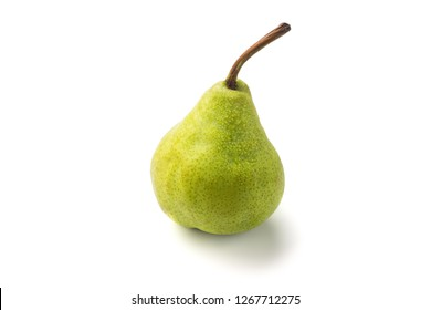 Green packham pear.Wet fruit with drops isolated. With clipping path,