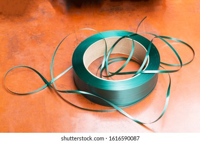 green packing straps or tape. Polypropylene tape on the coil