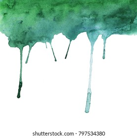 Green paint flowing down downward on a white background. Textured paper. watercolor illustration.