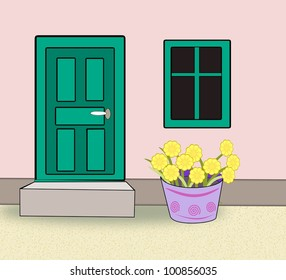 Green painted door and a window with green frames and a large  pot with yellow flowers.
