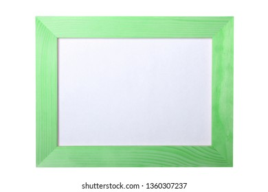 Green painted narrow wooden photo frame with mockup space isolated on white background.