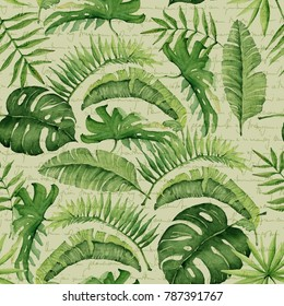 Green palm leaves on unreadable text background. Tropical watercolor illustration. Jungle foliage.