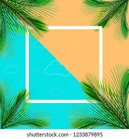 Green palm leaves pattern for nature concept,tropical leaf on orange and teal paper background