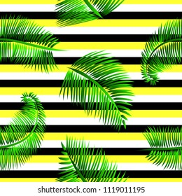 Green palm leaves seamless pattern, on yellow, black and white striped background. Tropical texture for web and print design, cover, poster.