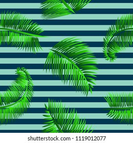 Green palm leaves seamless pattern, on blue striped background. Tropical texture for web and print design, cover, poster.