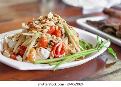Green papaya salad. spicy thai food