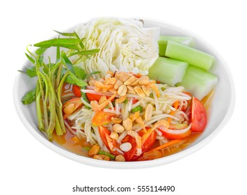 Green papaya Salad(Som Tum Thai) on white background