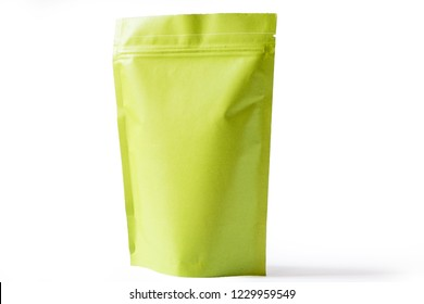 green paper doypack stand up packaging pouch with zipper on white background