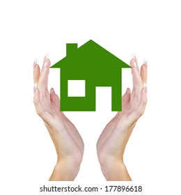 Green paper Home in Female Hands.Business Design