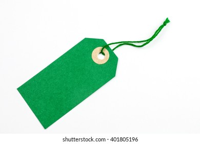Green Paper Tag Tied with String.
