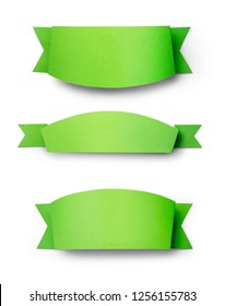 Green paper use as label banner on white background with clipping path