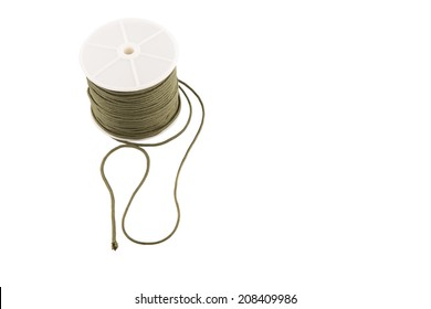 Green para cord over white background
