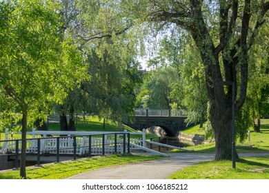 Green park and bridges in Oulu, Finland