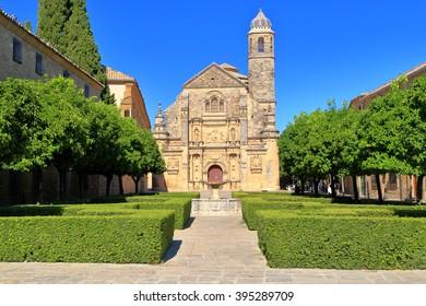 Green park in front of El Salvador chapel in Ubeda, Andalusia, Spain