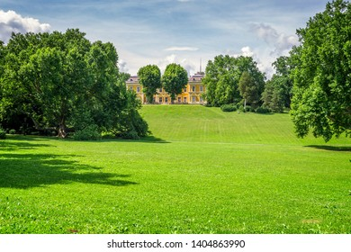 Green park of a romantic castle in Hungary in summer