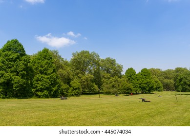 Green Park and its vast lawns on a sunny spring day. Central London, UK.