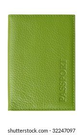 Green passport cover. Artificial leather pattern. Isolated on white
